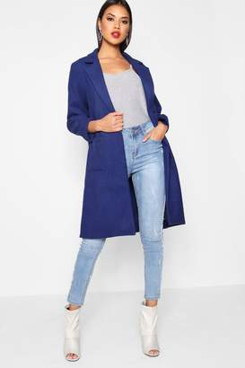 boohoo Collared Wool Look Coat With Pockets