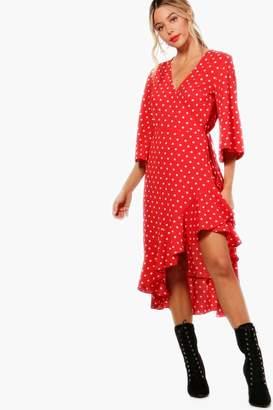 boohoo Fluted Sleeve Wrap Ruffle Hem Tea Dress