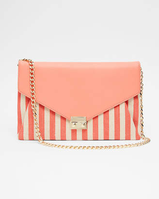 Express Convertible Striped Canvas Clutch