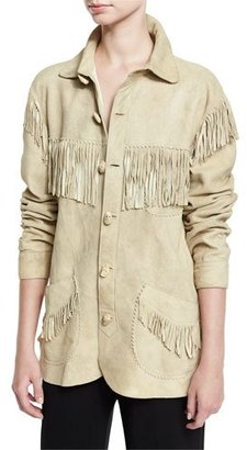 Ralph Lauren Collection Fringed Suede Jacket, Beige $3,990 thestylecure.com