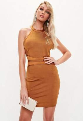Missguided Gold Bandage Bodycon Mini Dress