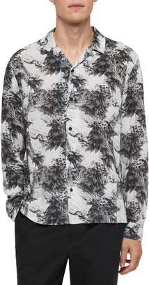 AllSaints Amagi Slim Fit Jungle Print Button-Up Sport Shirt