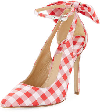 Paul Andrew Fiona Gingham Pumps with Ankle Cutouts