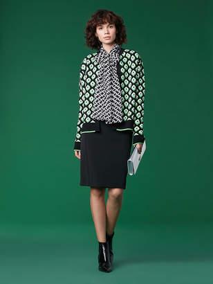 Diane von Furstenberg Cube Jacquard Wool Cardigan