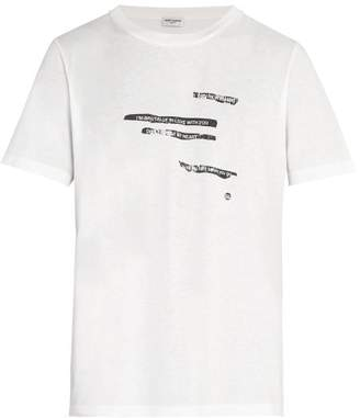 Saint Laurent Printed Crew Neck Cotton T Shirt - Mens - White
