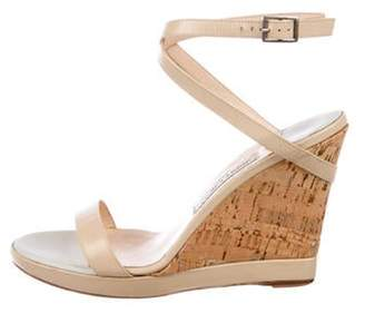 Jimmy Choo Leather Wrap-Around Wedges Beige Leather Wrap-Around Wedges