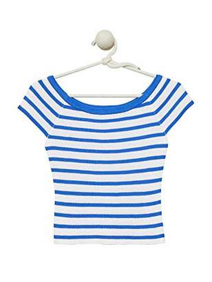 Cashmeren Women's Cap Sleeves Cotton Crop Top with Stripes Wide Scoop Neck Summer Sweater Shirt (White/Sand Stripe