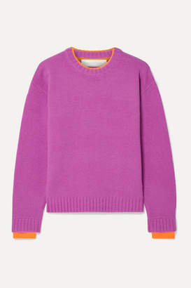 Victoria Victoria Beckham Victoria, Victoria Beckham - Stretch Jersey-trimmed Wool Sweater - Magenta