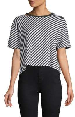Betsey Johnson Diagonal Striped Cropped Top
