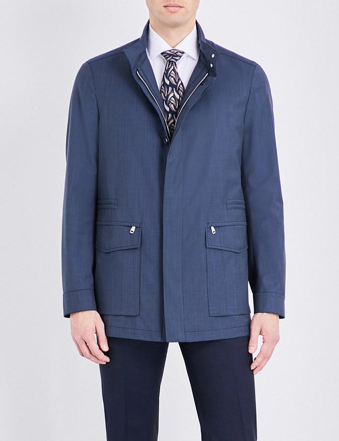 BrioniBrioni Geometric-print wool flight jacket