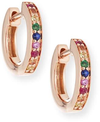 Sydney Evan 14k Rainbow Sapphire Huggie Hoop Earrings