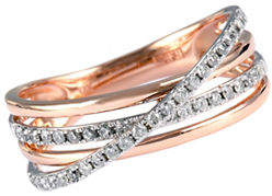 Effy 14 Kt. Rose Gold Layered Diamond Band