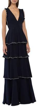 ML Monique Lhuillier Sleeveless V-Neck Layered Crepe A-Line Dress w/ Ruffle Details