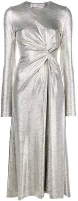 Galvan metallic draped front dress