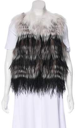 Yigal Azrouel Feather & Fur Vest w/ Tags