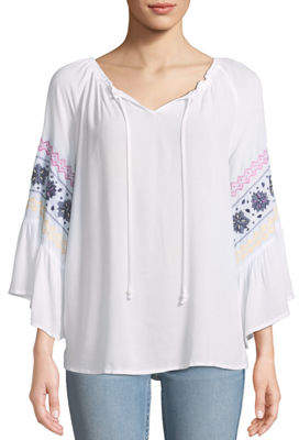 Neiman Marcus Embroidered-Sleeve Tie-Neck Frilled Blouse