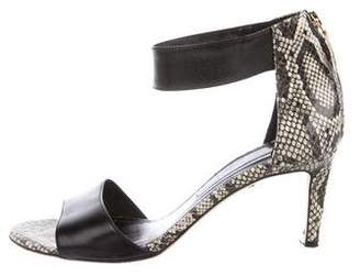 Diane von Furstenberg Embossed Ankle Strap Sandals