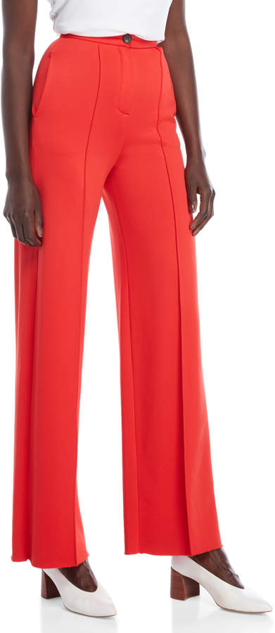 Alysi Red Pintuck High-Waisted Pants