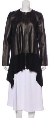 Salvatore Ferragamo Leather and Wool Coat