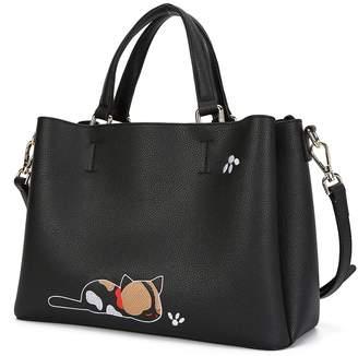 At Canada Malirona Leather Satchel Shoulder Bag Women S Top Handle Handbag Cat Tote Purse