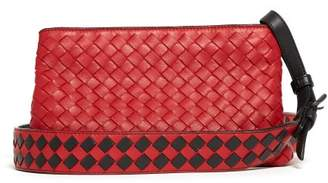 Bottega Veneta Intrecciato Leather Cross Body Bag - Womens - Red
