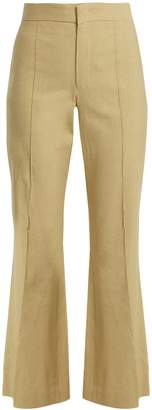 Isabel Marant Reeves kick-flare linen-blend cropped trousers