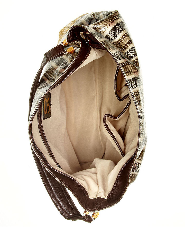 Sondra Roberts Handbag, Snake Raffia Hobo