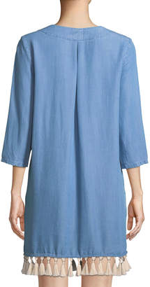 Neiman Marcus Tassel-Trim Chambray Shift Dress
