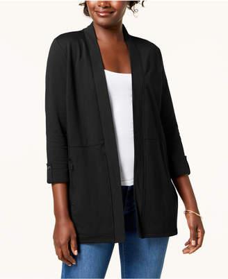 Karen Scott 3/4-Sleeve Open-Front Cardigan, Created for Macy's