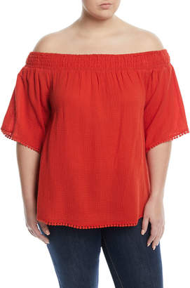 Rachel Roy Off-The-Shoulder Pompom Sleeve Blouse, Plus Size