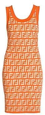 Fendi Women's FF Sheer Logo Sleeveless Knit Dress