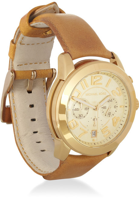 Michael Kors Stainless steel and leather watch