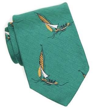 Drakes Drake's Silk Cotton Sailboat Tie in Green