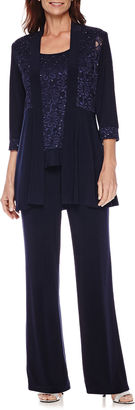 R & M Richards R&M Richards Long-Sleeve Glitter Lace Jacket and Formal Pant Suit Set $110 thestylecure.com