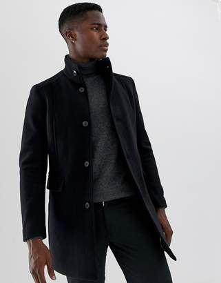 62bb1b5477f3 Selected wool overcoat with funnel neck