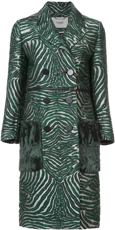 Fendi double breasted zebra coat