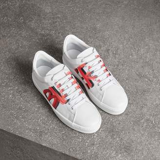 Burberry Graffiti Print Leather Sneakers