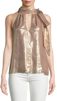 Ramy Brook Sasha Metallic Tie-Neck Sleeveless Top