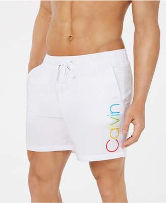 "Calvin Klein Men Rainbow Pride Logo-Print Quick-Dry 5-1/2"" Swim Trunks"