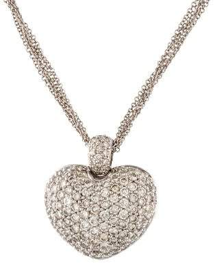 Naven Diamond Pavé Puffed Heart Pendant Necklace