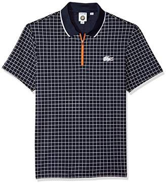 Lacoste Men's Short Sleeve Pique Ultra Dry with Check Print & Contrast Zipper Polo