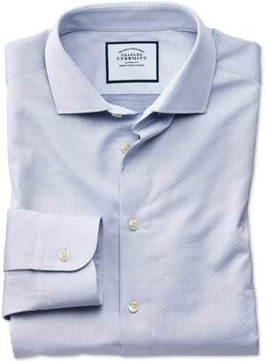 Charles Tyrwhitt Classic Fit Business Casual Blue Diamond Dobby Egyptian Cotton Dress Shirt Single Cuff Size 16/33