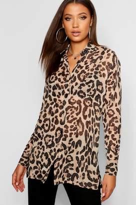 boohoo Tall Leopard Print Shirt