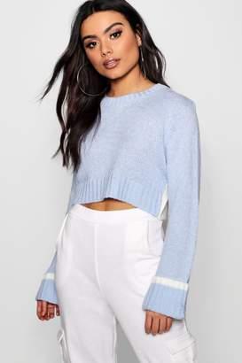 boohoo Hannah Soft Knit Contrast Back Crop Jumper