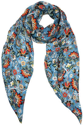 Laundry by Shelli Segal Boho Floral Silk Oblong Scarf