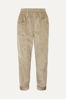 Brunello Cucinelli Cotton And Cashmere-blend Corduroy Tapered Pants - Beige