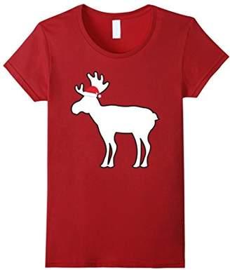 Christmas Pajama Shirt Christmas Moose Santa Hat Tee