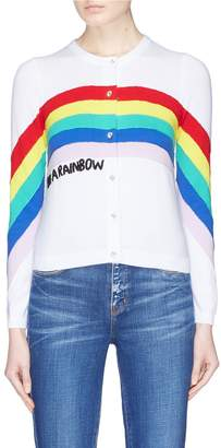 Alice + Olivia 'Ruthy' rainbow slogan embroidered cardigan