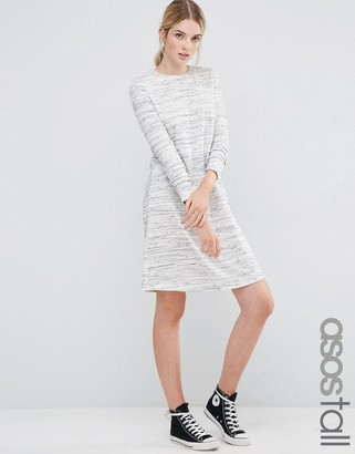 ASOS Tall ASOS TALL Casual Swing Sweat Dress in Space Dye $41 thestylecure.com