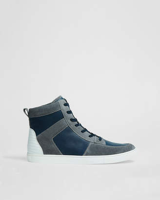 Express Color Blocked High Top Leather Sneaker